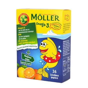 Picture of MOLLER'S Omega-3 Ψαράκια - Ζελεδάκια Πορτοκάλι-Λεμόνι 36 Gummies