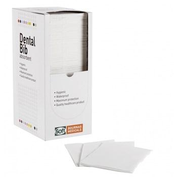 Picture of ΟΔΟΝΤΙΑΤΡΙΚΗ Πετσέτα 1ply χαρτί + 1ply πλαστικό με κουτάκι (Dispenser) 125τεμαχιων Λευκή