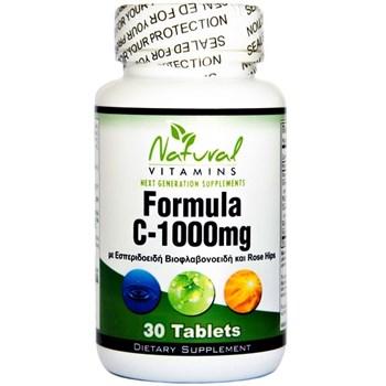 Picture of NATURAL VITAMINS Vitamin C – 1000 MG με 525mg  ΒΙΟΦΛΑΒΟΝΟΕΙΔΗ 30tabs