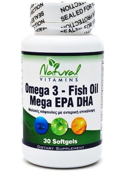 Picture of NATURAL VITAMINS Omega 3 - Enteric Coated Fish Oil - 1,000mg - 700mg EPA/DHA  30 soft gels