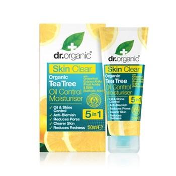 Picture of Dr. Organic Skin Clear Organic Tea Tree Oil Control Moisturiser 50ml Ενυδατική Κρέμα ταχείας δράσης για Λιπαρές Επιδερμίδες