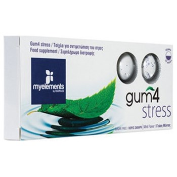 Picture of MyElements Gum 4 Stress 10 gums Λειτουργική τσίχλα με L-Tryptophan, Lemon Balm & Scullcap για τη διαχείρηση του Άγχους, με γεύση μέντας