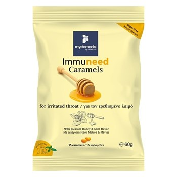 Picture of MyElements Immuneed Caramels 60gr Καραμέλες για τον Ερεθισμένο Λαιμό, με ευχάριστη γεύση Μελιού & Μέντας