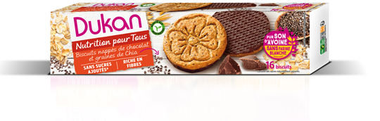 Picture of Dukan Μπισκότα βρώμης με επικάλυψη σοκολάτας & σπόρους Chia 160gr