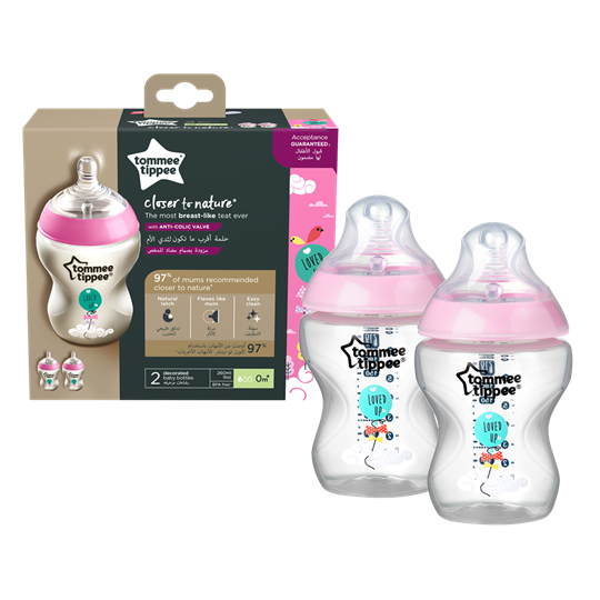 Picture of TOMMEE TIPPEE Closer To Nature μπιμπερό 260ml - μικρή ροή ροζ 2 τεμαχίων