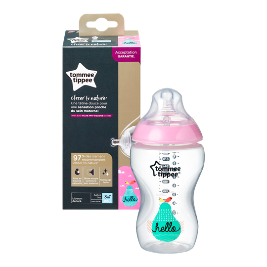 Picture of TOMMEE TIPPEE Closer To Nature μπιμπερό 340ml - μέτρια ροή ροζ 1 τεμαχίο