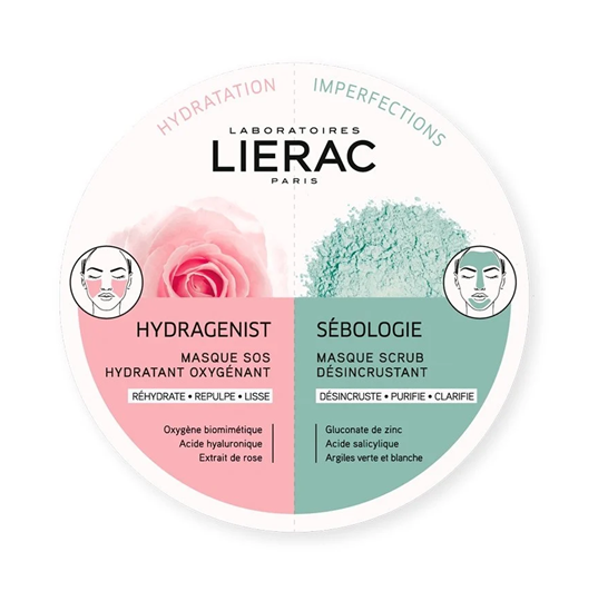 Picture of LIERAC Duo Masks Hydragenist Masque SOS Hydratant Oxygenant & Sebologie Masque Scrub Desincrustant 2x6ml
