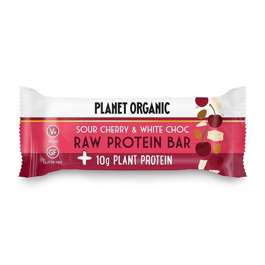 Picture of PLANET ORGANIC Raw Protein Bar White Choc Chip & Sour Cherry 50gr