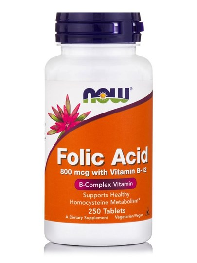 Picture of NOW  Folic Acid 800 mcg with Vitamin B-12 250 Tablets
