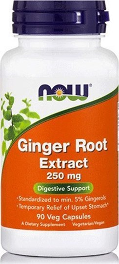 Picture of NOW Ginger Root Extract 250 mg 90Veg Capsules