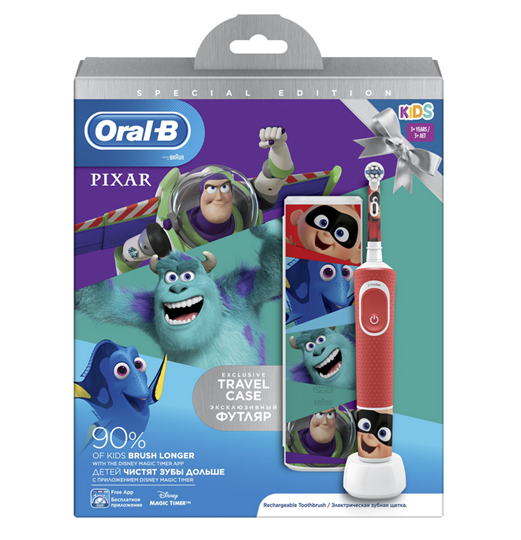 Picture of Oral-B Παιδική Επαναφορτιζόμενη Ηλεκτρική Οδοντόβουρτσα Special Edition Pixar Kids 3+ & Θήκη Ταξιδίου 1τμχ