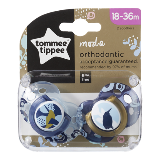 Picture of TOMMEE TIPPEE Πιπίλες σιλικόνης MODA 18-36 μηνών για αγόρι 2ΤΕΜ