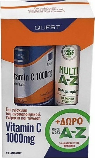 Picture of QUEST VITAMIN C 1000 MG 60 TABS TIMED RELEASE + Once A Day Multi A-Z Δωρο