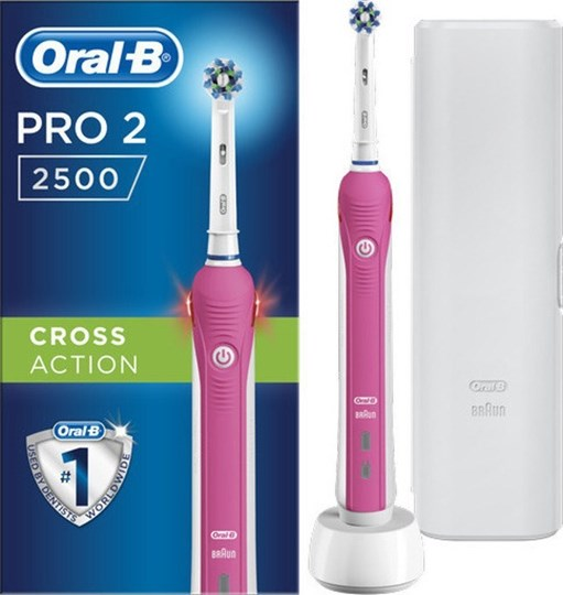 Picture of Oral-B Pro 2 2500 Cross Action Pink & Bonus Travel Case White