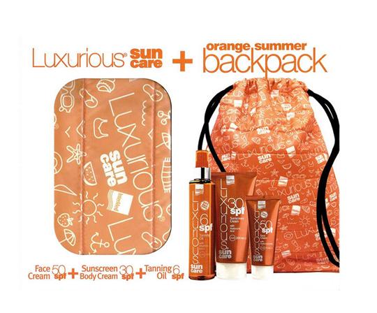 Picture of Intermed Set Luxurious Sun Care Face Cream SPF50 75ml + Sunscreen Body Cream SPF30 200ml + Tanning Oil SPF6 200ml + Δώρο Orange Summer Backpack 1τμχ