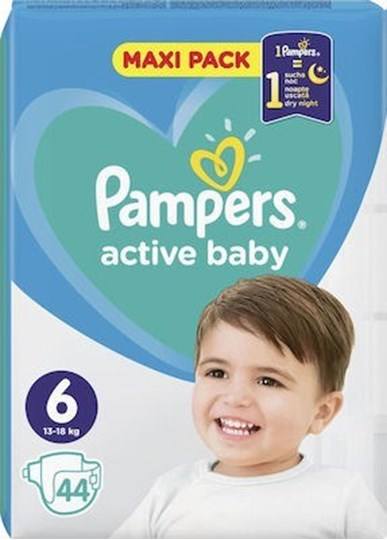 Picture of Pampers Active Baby Maxi Pack No.6 (13-18kg) 44τμχ